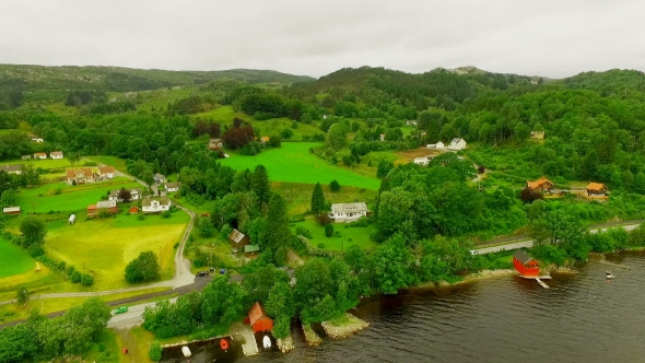 Picturesque Village Near the River in Norway