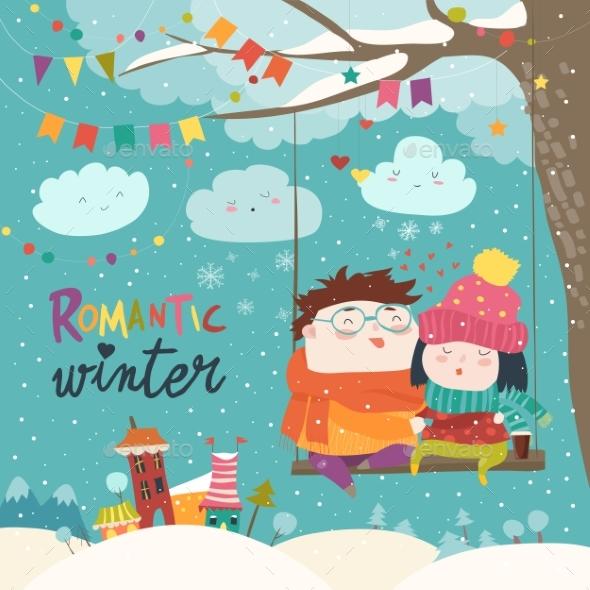 Winter Cartoon Couple Swinging
