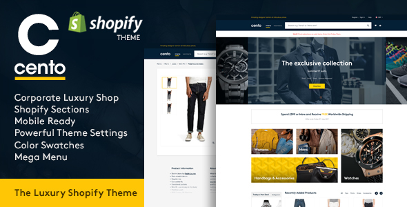 Cento   Corporate & Luxury Products Responsive Shopify Theme