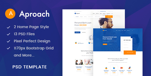 Aproach - Banking & Business Loan PSD Template