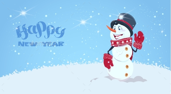 Happy New Year Greeting Card With Snowman