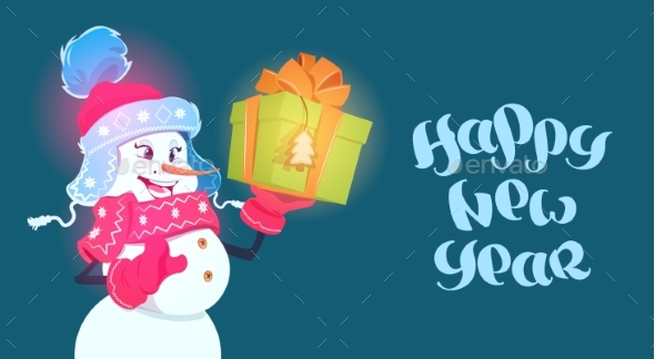 Happy New Year Poster Snowman with Gift Box