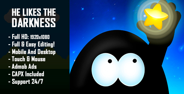He Likes The Darkness - HTML5 Game + Mobile Version! (Construct 2 / Construct 3 / CAPX) Download