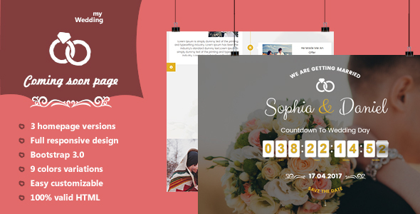 myWedding - Coming Soon HTML Template