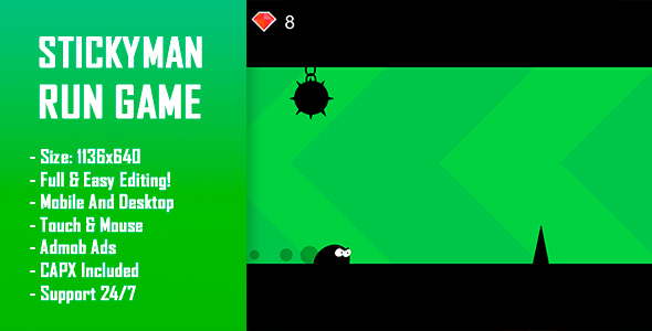 Stickyman Run - HTML5 Game + Mobile Version! (Construct-2 CAPX) Download