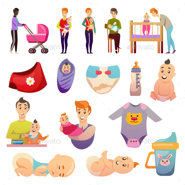 Fathers  Parental Leave Orthogonal Icons