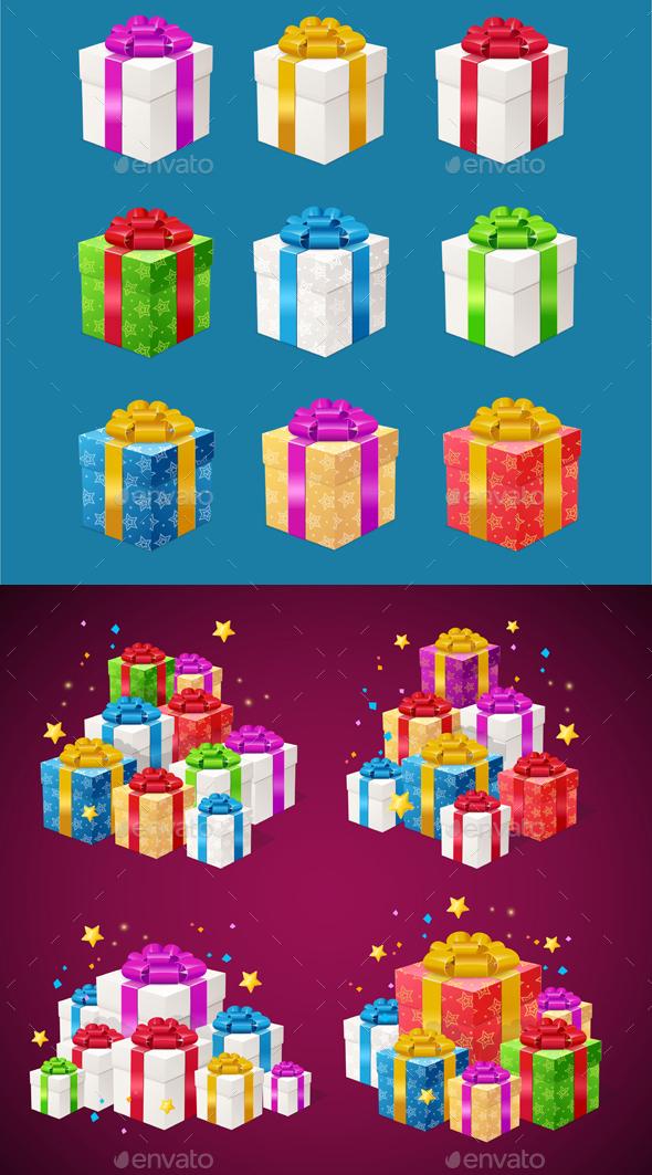 Detailed Present Boxes Piles Set