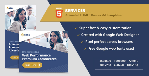 HTML5 Animated Banner Ads - Business Services (GWD)