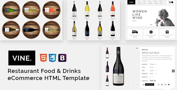 Vine – Restaurant Food & Drinks eCommerce HTML Template