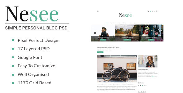 Nesee - Blog PSD Templates