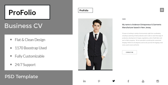 Download ProFolio – Business CV PSD Template Nulled