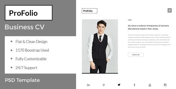 ProFolio - Business CV PSD Template