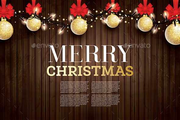 Christmas Greeting Card with Golden Glitter Christmas Ball