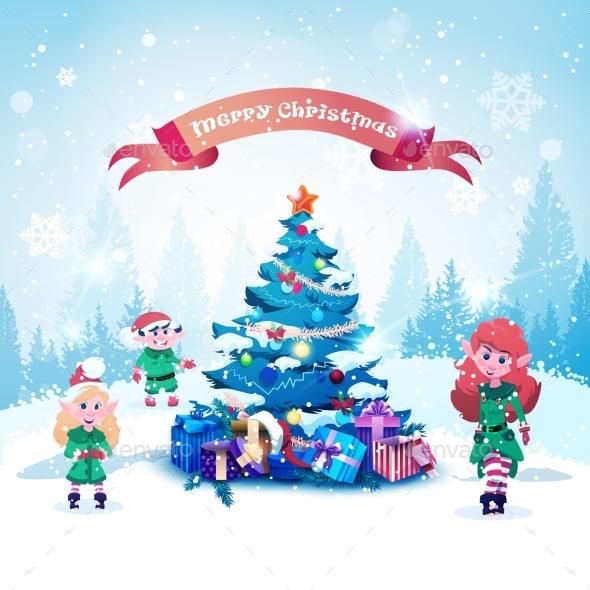 Elves Near Decorated Christmas Tree