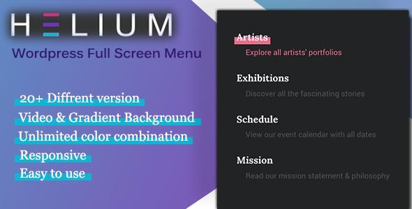 Helium: Wordpress Full Screen Menu