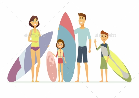 Family Goes Surfing - Cartoon People Characters