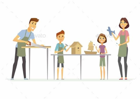 Family Making Handicrafts - Cartoon People