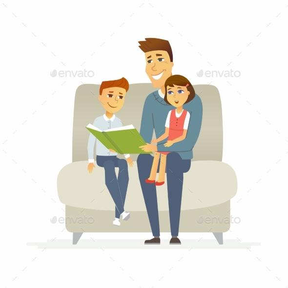 Father Reads a Fairytale - Cartoon People