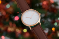 Brawn leather strap wrist watch in Christmas time - PhotoDune Item for Sale