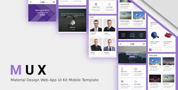 Material Design UI Website Templates from ThemeForest
