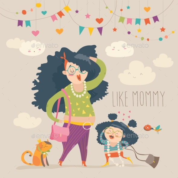 Stylish Mother with Her Daughter