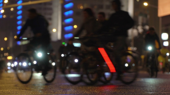Lot of Cyclists Ride During Night