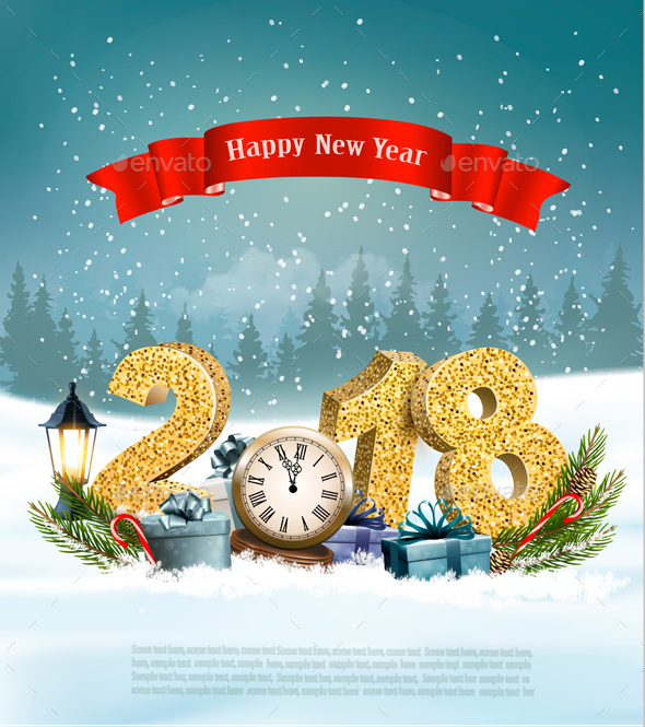 Happy New Year 2018 Background with Presents and Clock