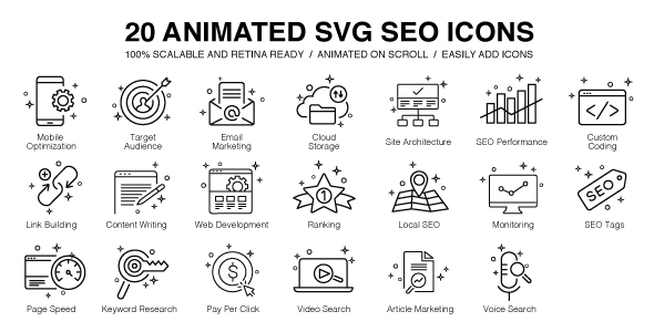 20 Animated SVG SEO Icons