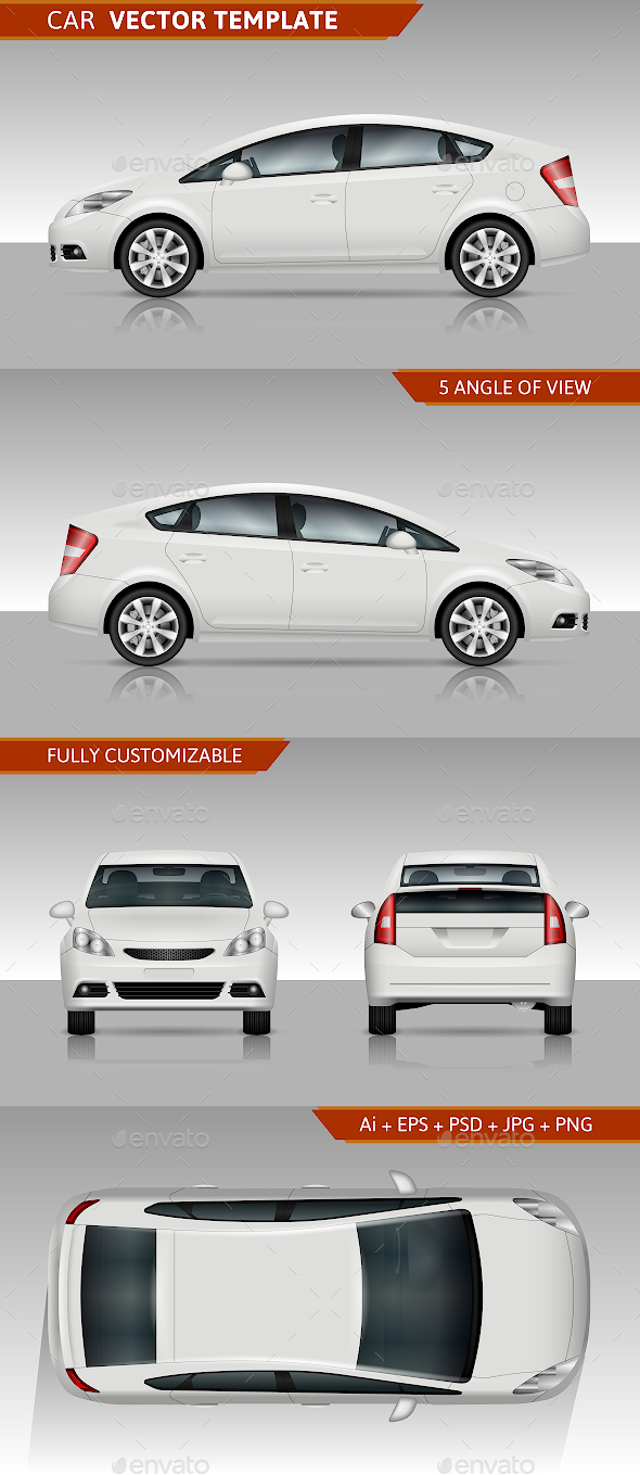 White Car Vector Template