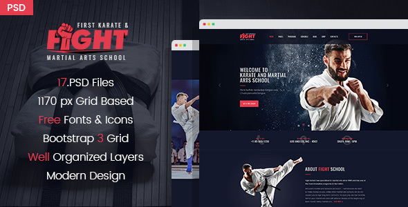 Fight - Karate & Martial Arts School PSD Template