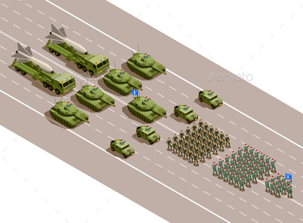 Military Parade Isometric Composition