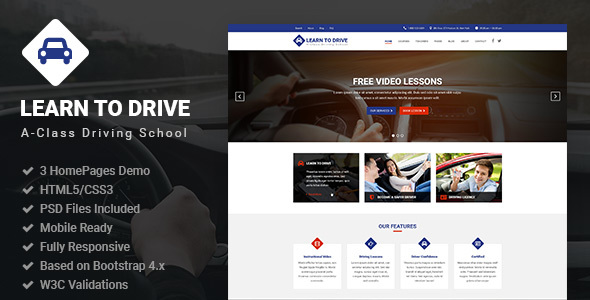 LearnToDrive | Driving School & Lessons HTML5 Template