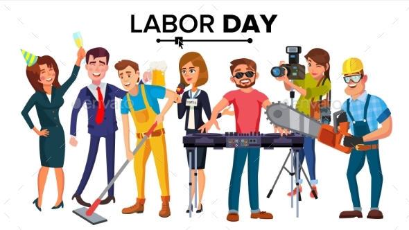 Labor Day Vector. Group Of People. Modern Jobs