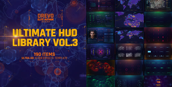 Ultimate HUD Library Vol 3 / Sci-fi Interface / Movie World Map Holographics UI / Grid And Markers