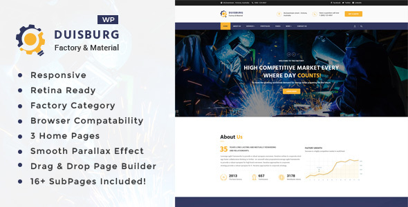 Duisburg - Factory & Industrial Business WordPress Theme