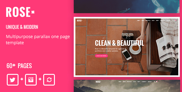 Rose - Multipurpose Responsive One Page Drupal 8 Theme