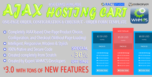AJAX Hosting Cart - WHMCS Order Form Template - One-Page Order, Configure & Checkout