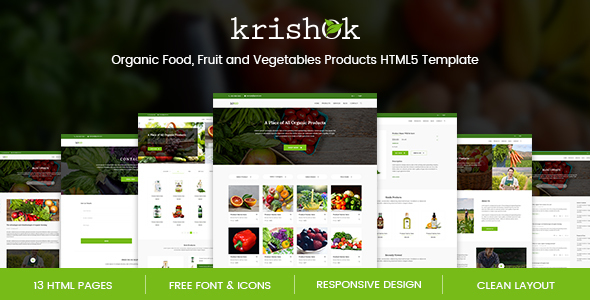 Krishok - Organic Food, Fruit and Vegetables Products HTML5 Template