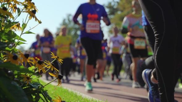 City Marathon, Running Athletes on Street