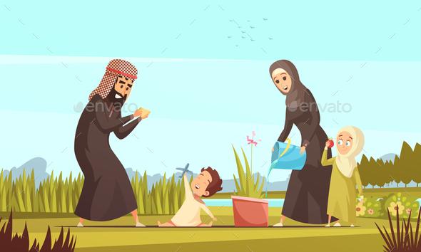 Arab Family Life Cartoon Poster