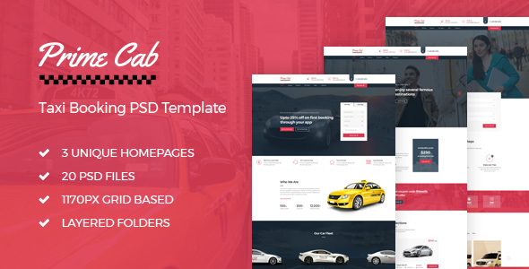 Prime Cab - Taxi Booking PSD Template