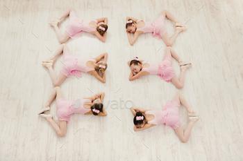 Little girls dancing ballet in studio