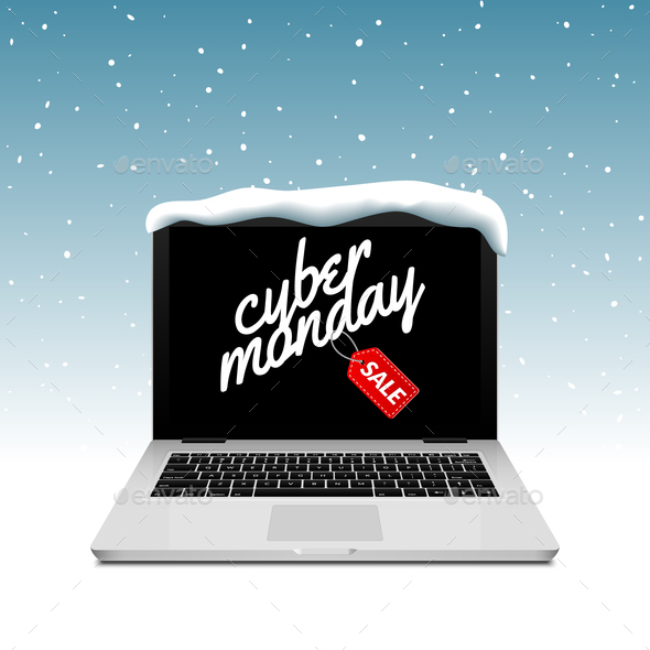 Cyber Monday sign on laptop