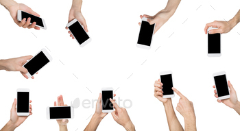 Male hands pointing, holding smartphone