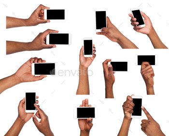 Male hands pointing, holding mobile phone
