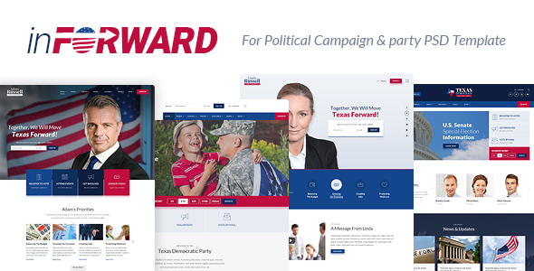 inForward - Political Campaign, Party, Nonprofit PSD Template