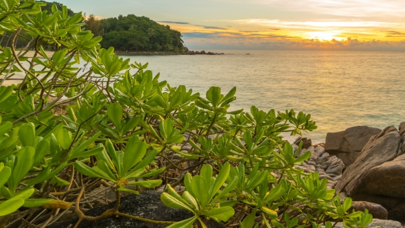 Gorgeous Freedom Beach at Sunset  in Phuket, Thailand