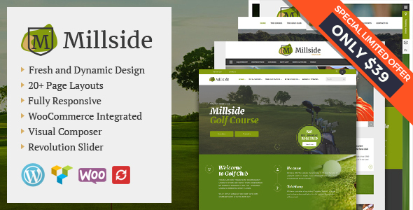 Millside - Golf and Sport WordPress theme