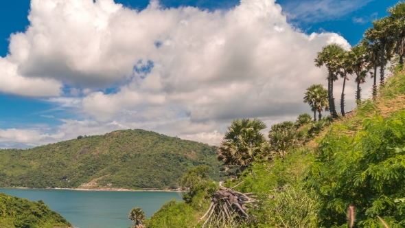 Landscape with Trees, Islands and Blue Sky with Clouds in Phuket, Thailand