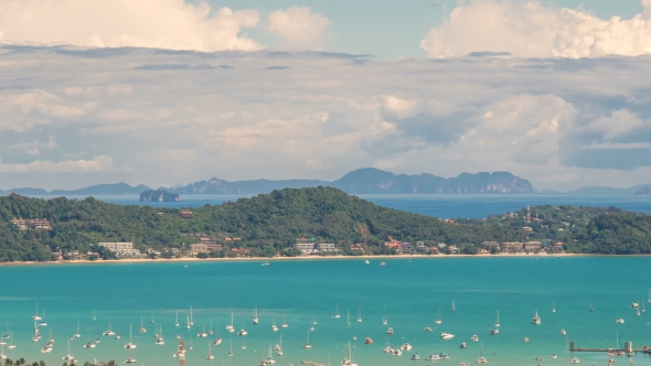 View Landscape of Ao Chalong Bay and City Sea Side in Phuket Province, Thailand